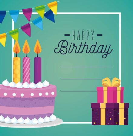 card and cake with candle and presents gifs decoration to happy birthday, vector illustration Illustration
