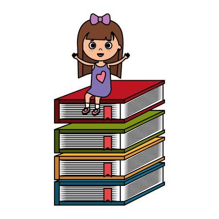 little student girl with pile books character vector illustration design Illustration