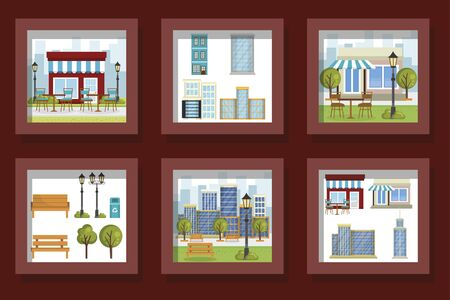 bundle designs of scenes parks landscape and facades structures vector illustration design