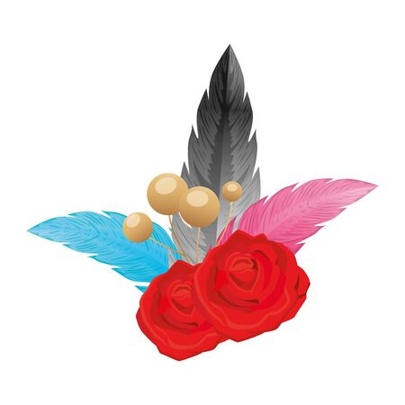 feathers elegants with rose flowers decoration vector illustration design Çizim