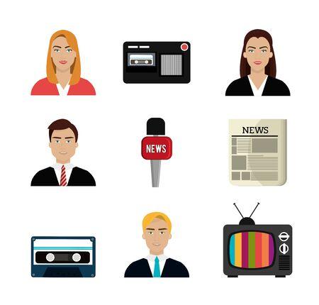set of news information icons vector illustration design