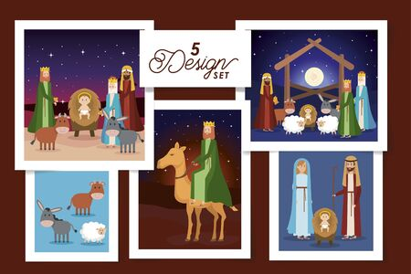five designs of scenes manger characters vector illustration design