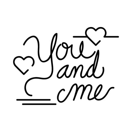 you and me lettering with hearts decoration vector illustration design Vectores
