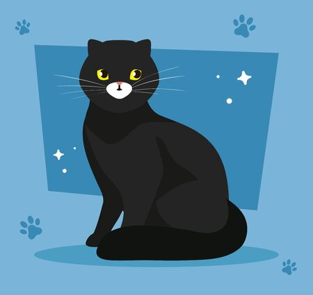 cute cat black in background blue with pawprints vector illustration design