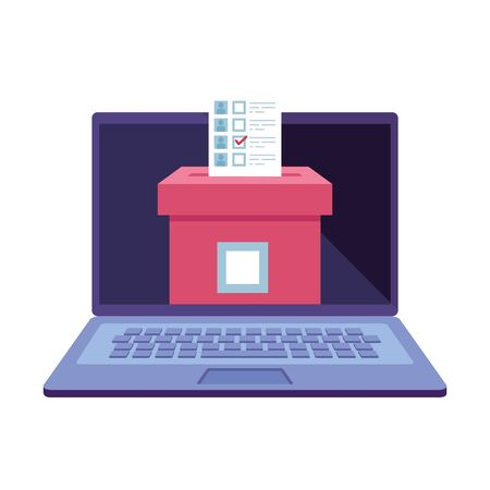 laptop computer for vote online with ballot box vector illustration design Vecteurs