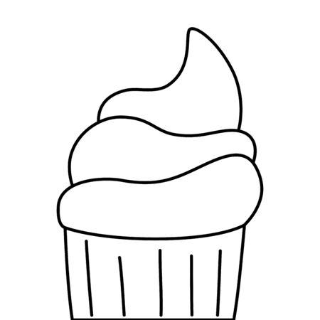 cute and delicious cupcake line style icon vector illustration design Ilustração