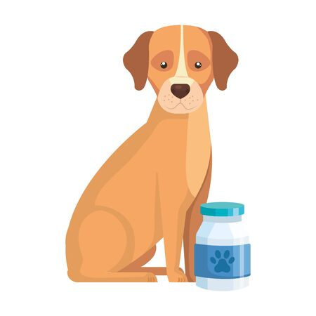 cute dog animal with bottle isolated icon vector illustration design 矢量图像