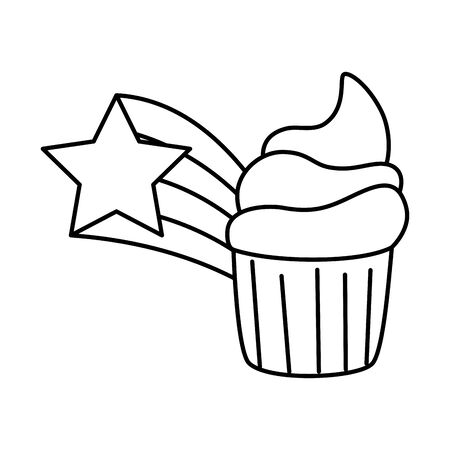 cute cupcake with shooting star line style vector illustration design
