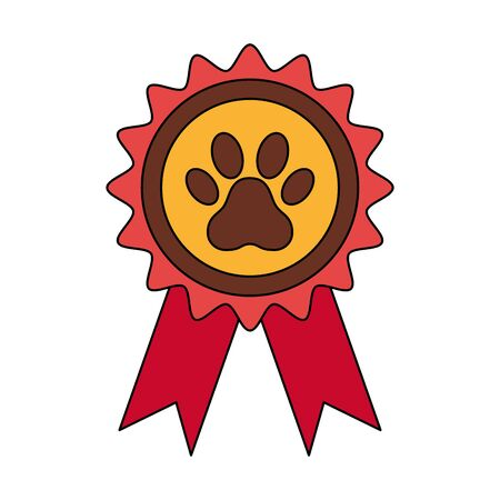 stamp with pawprint dog isolated icon vector illustration design