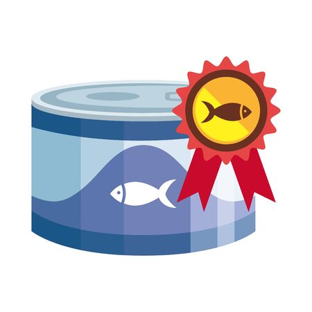 food for fish in can with seal isolated icon vector illustration design
