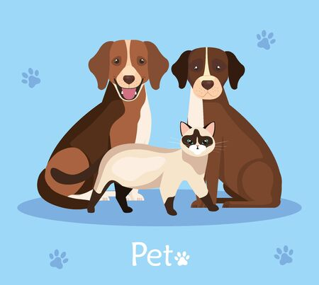 group of dogs and cat in background with pawprints vector illustration design