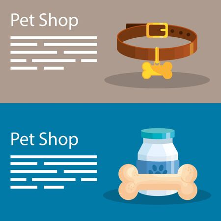 set poster of pet shop and icons vector illustration design
