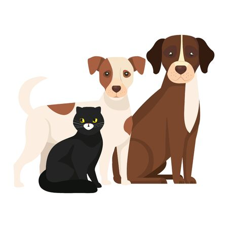 cute dogs with cat black isolated icons vector illustration design