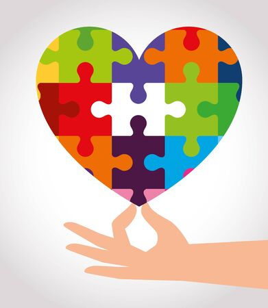 world autism day with heart of puzzle pieces vector illustration design