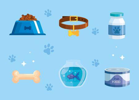 bundle of pet shop icons vector illustration design Vettoriali