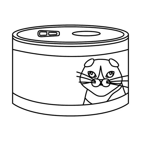 food cat in can line style icon vector illustration design