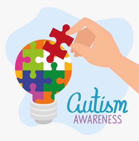 world autism day with light bulb of puzzle pieces vector illustration design