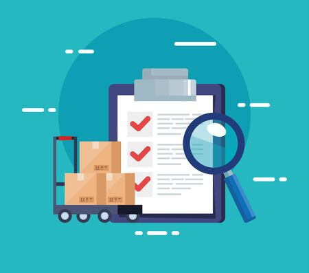 checklist of delivery logistic service and icons vector illustration design
