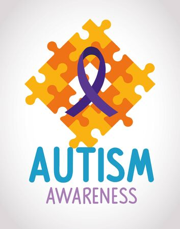 world autism day with puzzle pieces vector illustration design