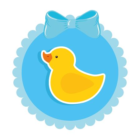 cute duck rubber in lace frame vector illustration design