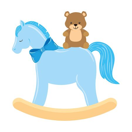 wooden horse toy with teddy bear vector illustration design