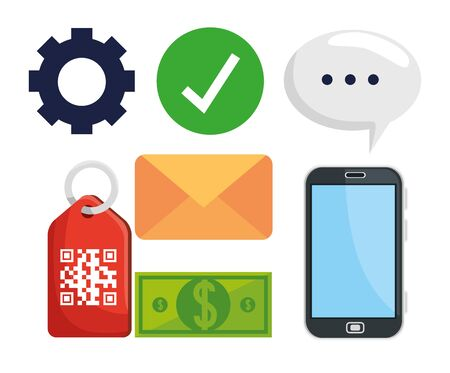 bundle of code qr in label and icons vector illustration design