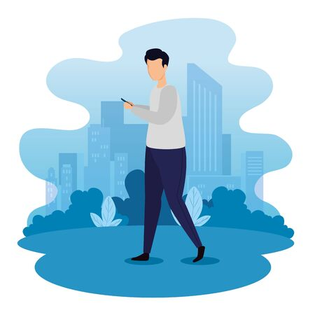 urban scene with young man and smartphone vector illustration design