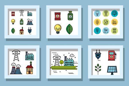 bundle designs of ecofriendly icons vector illustration design