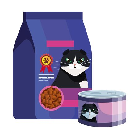 bag and can of food for cat isolated icon vector illustration design