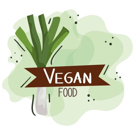 vegan food poster with leek and leafs vector illustration design