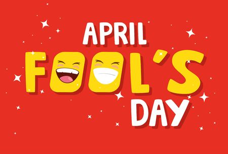 april fools day in red background vector illustration design