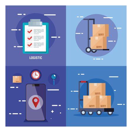 set poster of delivery logistic service vector illustration design