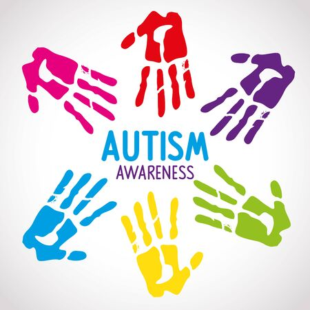 world autism day with handprints vector illustration design