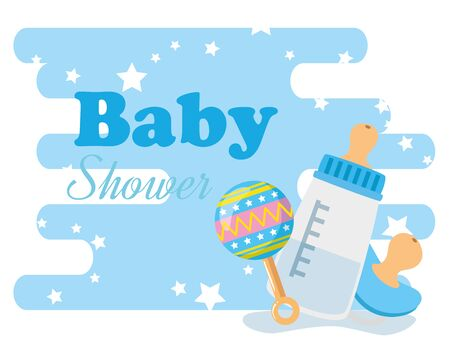 baby shower card with bottle milk and icons vector illustration design