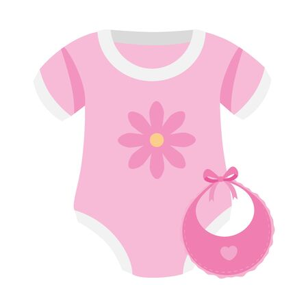 cute clothes baby girl with bib isolated icon vector illustration design Vecteurs