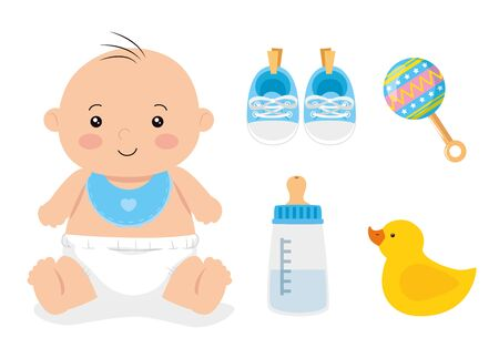 cute little baby boy with set toys vector illustration design