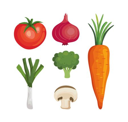 set of fresh and healthy vegetables vector illustration design
