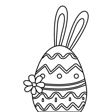 cute egg easter with ears rabbit and flower vector illustration design