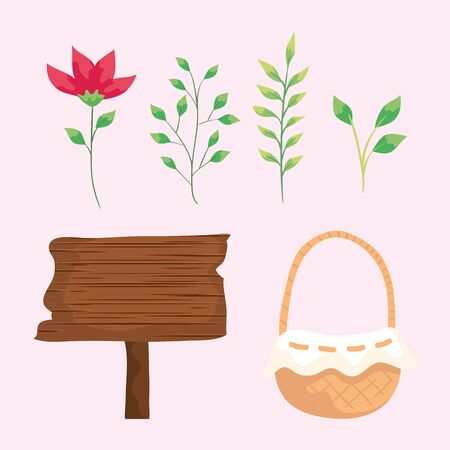 set of basket wicker with flower and signal wooden vector illustration design