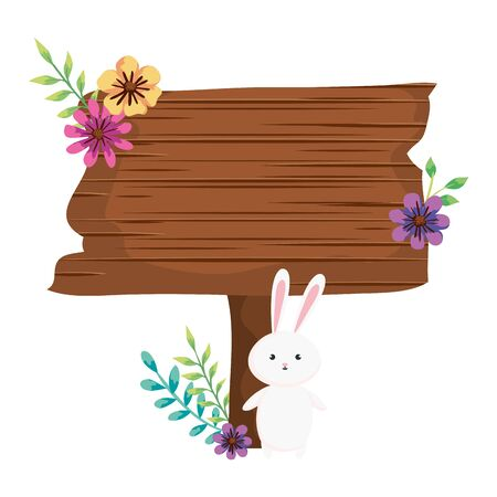 signal way wooden with rabbit and flowers vector illustration design Ilustração