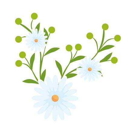 cute flowers with leafs isolated icon vector illustration design Ilustração