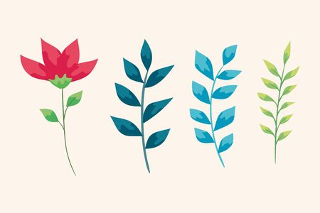 set of cute flower and branches with leafs vector illustration design Ilustração