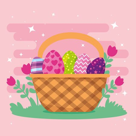 cute eggs easter decorated in basket wicker vector illustration design