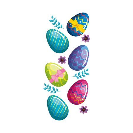 cute eggs easter decorated with flowers and leafs vector illustration designicon Ilustração