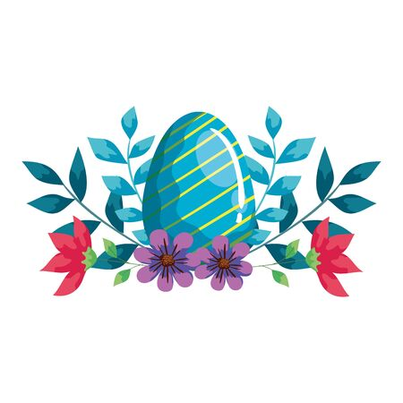 cute egg easter with flowers and leafs decoration vector illustration design