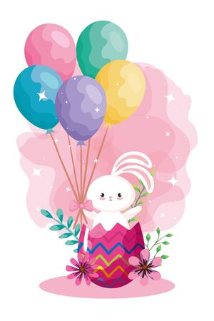 rabbit in egg easter with balloons helium vector illustration design