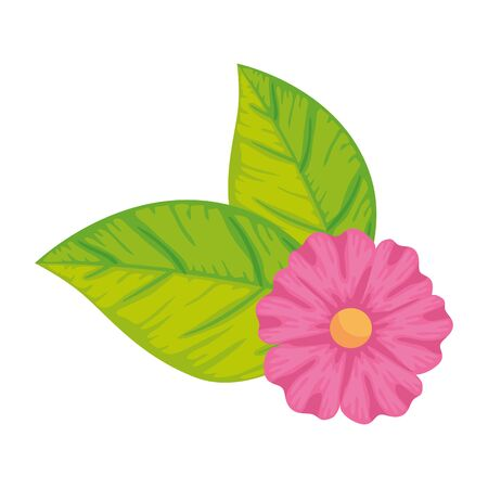 cute flower with leafs isolated icon vector illustration design Ilustração