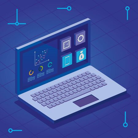 laptop computer with infographics and app menu vector illustration design 矢量图像