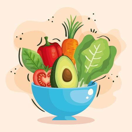 bowl with fresh and healthy vegetables vector illustration design Çizim