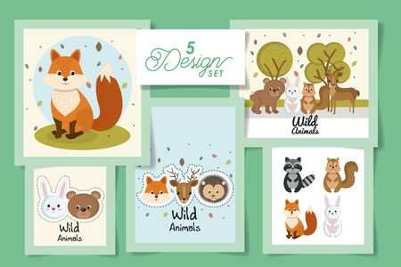 five designs of cute wild animals vector illustration design